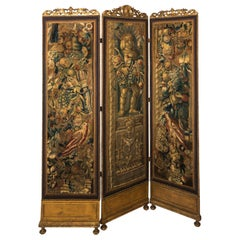 18th Century Three Panel Flemish Tapestry Screen
