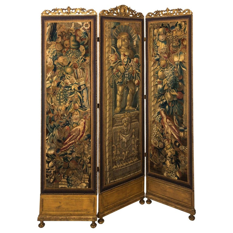 18th Century Three Panel Flemish Tapestry Screen For Sale