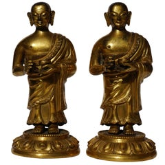 18th Century Tibetan Gilt Repousse Copper and Bronze Lama Buddha Figures