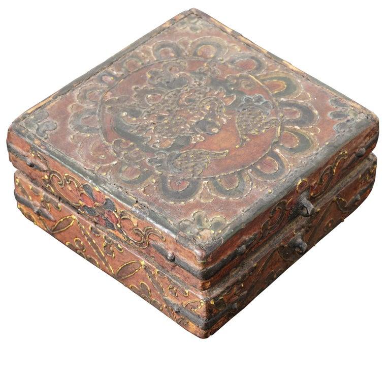 18th Century Tibetan Lotus Buddha Polychrome Wood and Iron Box For Sale