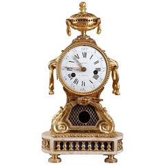 18th Century Transition Gilt Bronze and Marble Pendulum Clock