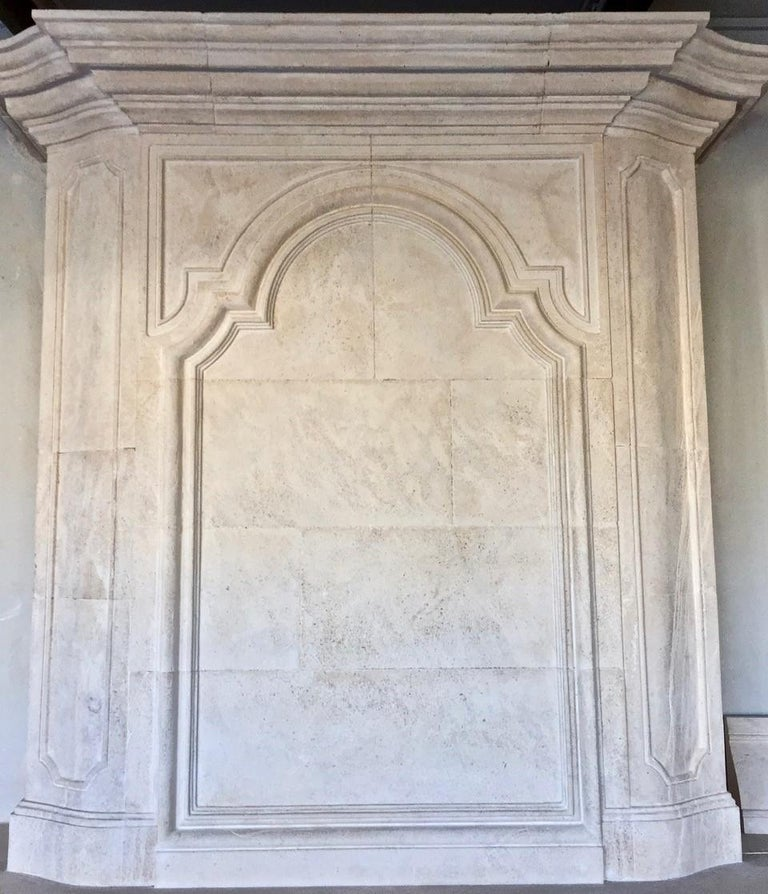 Louis XIV 18th Century Trumeau Carved Limestone Fireplace Mantel Reedition