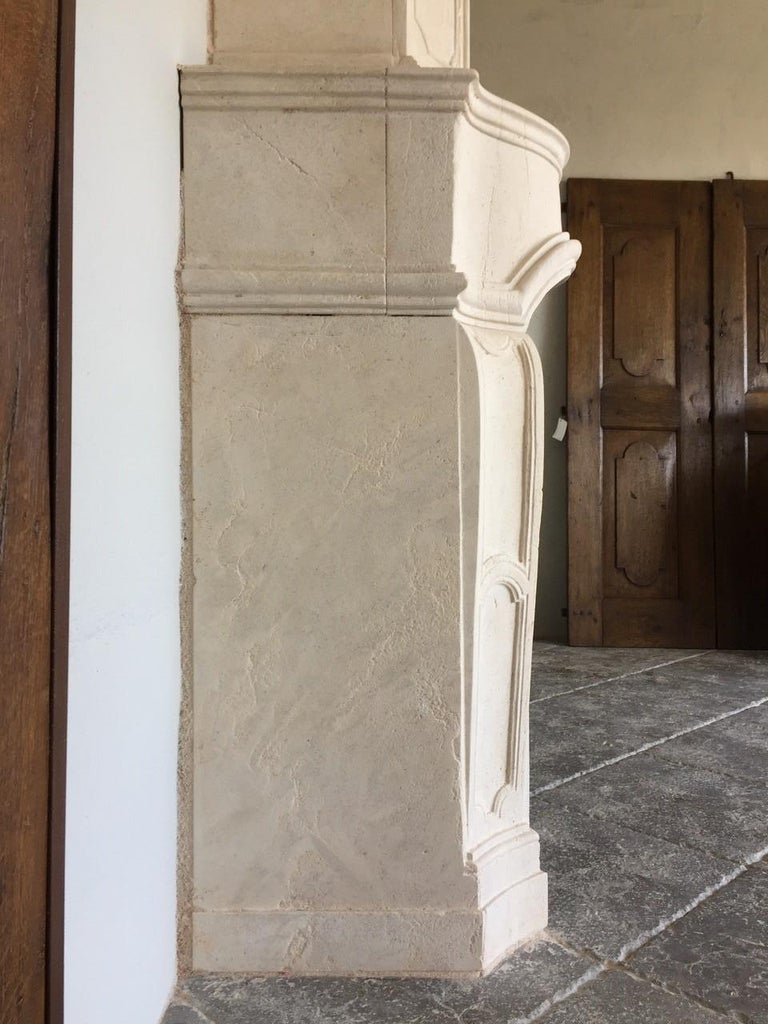 French 18th Century Trumeau Carved Limestone Fireplace Mantel Reedition