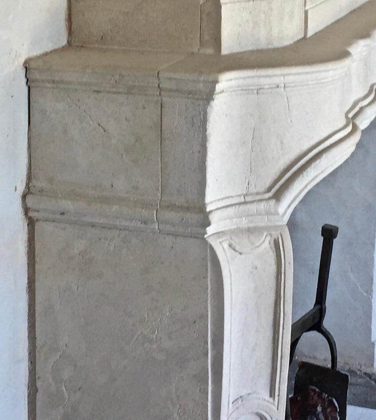 Hand-Carved 18th Century Trumeau Carved Limestone Fireplace Mantel Reedition