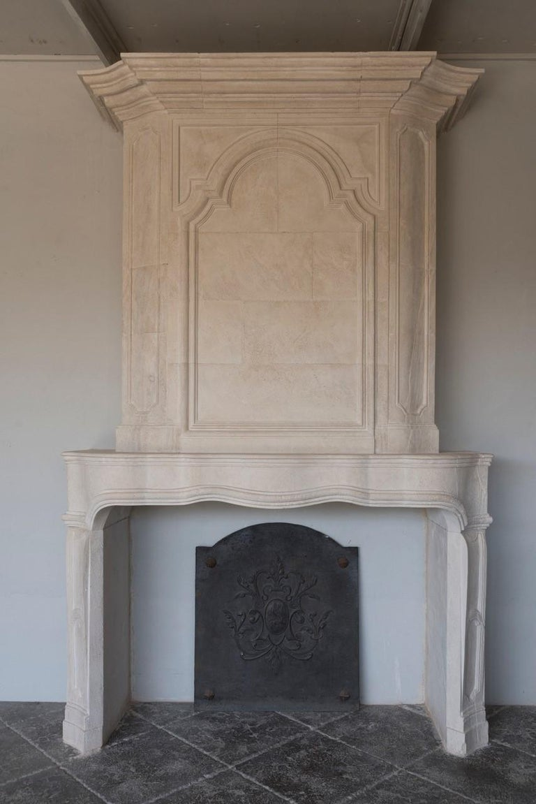 18th Century and Earlier 18th Century Trumeau Carved Limestone Fireplace Mantel Reedition