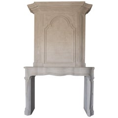 18th Century Trumeau Carved Limestone Fireplace Mantel Reedition