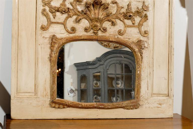 French Louis XV Trumeau Mirror with Original Oil Painting and Carved Gilt Motifs For Sale 6
