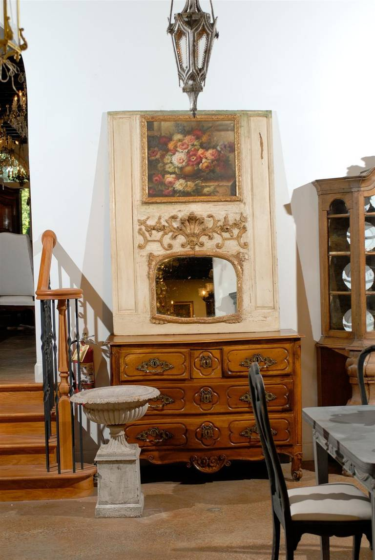French Louis XV Trumeau Mirror with Original Oil Painting and Carved Gilt Motifs In Good Condition For Sale In Atlanta, GA
