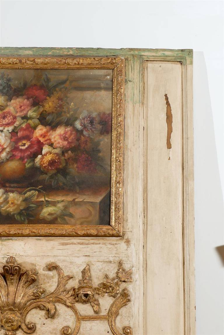 18th Century French Louis XV Trumeau Mirror with Original Oil Painting and Carved Gilt Motifs For Sale