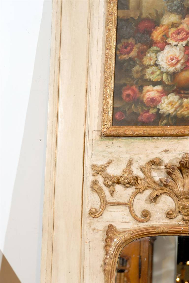 French Louis XV Trumeau Mirror with Original Oil Painting and Carved Gilt Motifs For Sale 1