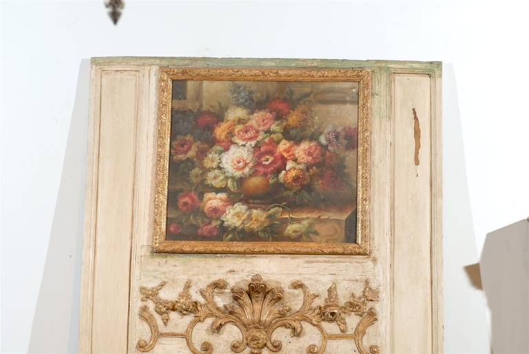 French Louis XV Trumeau Mirror with Original Oil Painting and Carved Gilt Motifs For Sale 3