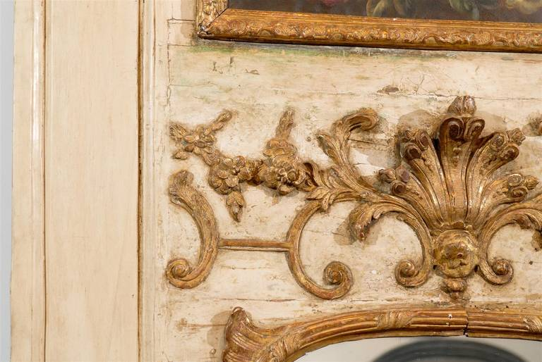 French Louis XV Trumeau Mirror with Original Oil Painting and Carved Gilt Motifs For Sale 4