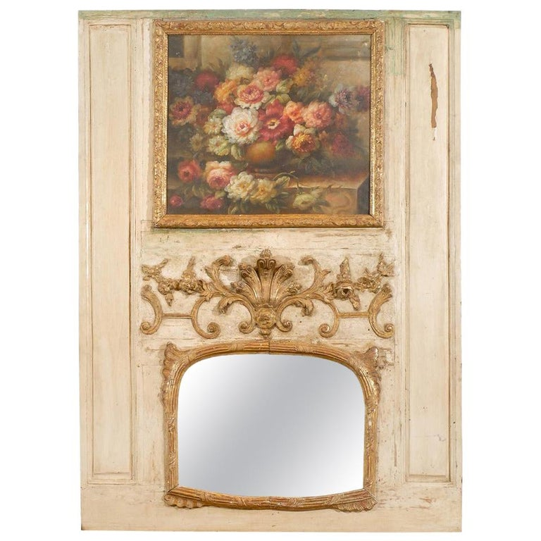 French Louis XV Trumeau Mirror with Original Oil Painting and Carved Gilt Motifs For Sale