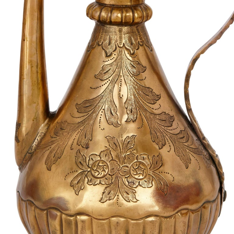 Copper 18th Century Turkish Tombak Ewer and Basin For Sale