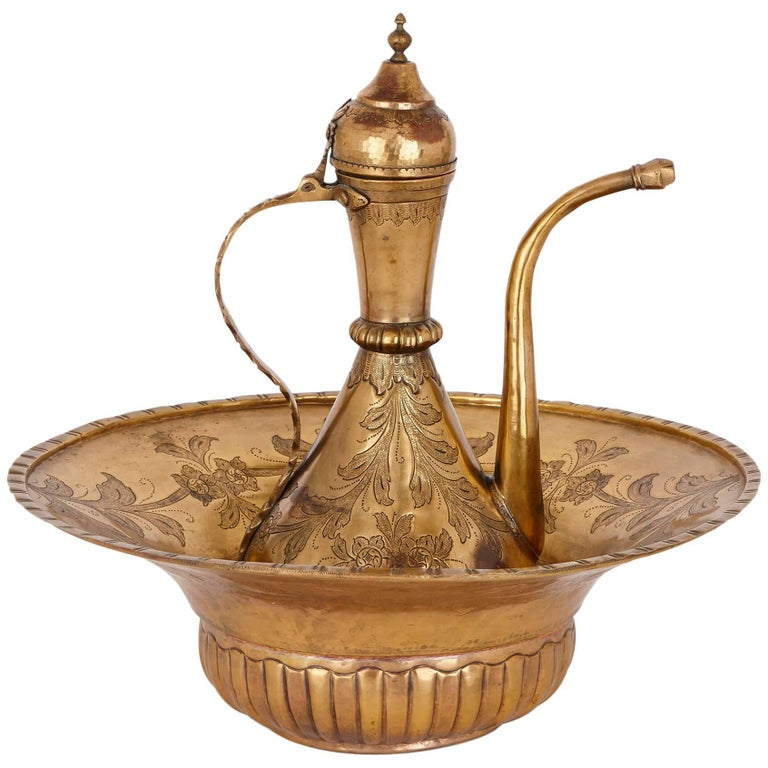 18th Century Turkish Tombak Ewer and Basin For Sale