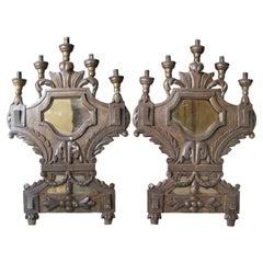 18th Century Tuscan Italian Five-Light Wooden Mirrored Sconces