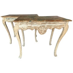 18th Century Tuscan Painted Side Tables from Italy Carved All the Way Around