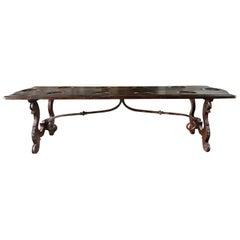 18th Century Tuscan Renaissance Dining Table, Italian Walnut Center Table