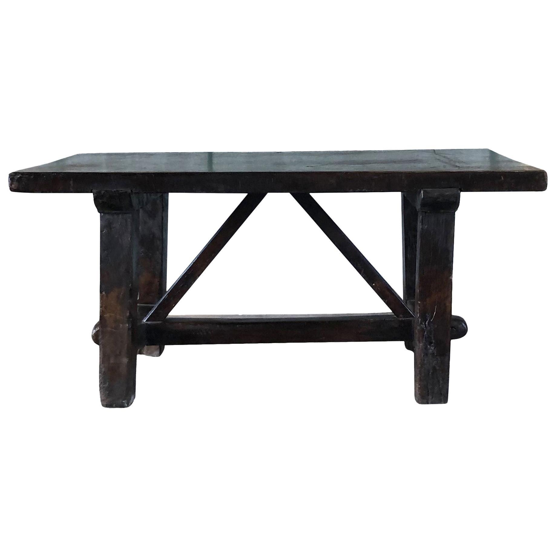 18th Century Tuscan Walnut Kitchen Table, Italian Dark Waxed Farm Table