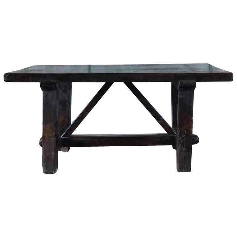 18th Century Tuscan Walnut Kitchen Table, Italian Dark Waxed Farm Table For Sale
