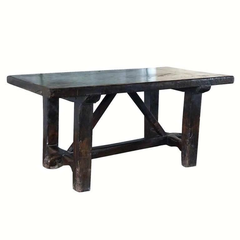 Hand-Carved 18th Century Tuscan Walnut Kitchen Table, Italian Dark Waxed Farm Table For Sale