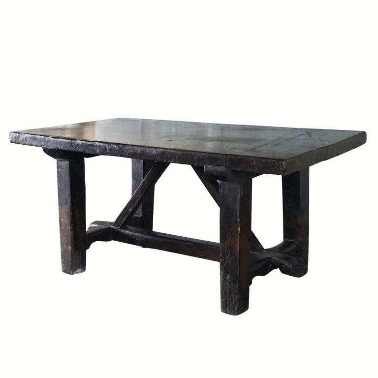 18th Century Tuscan Walnut Kitchen Table, Italian Dark Waxed Farm Table For Sale 1