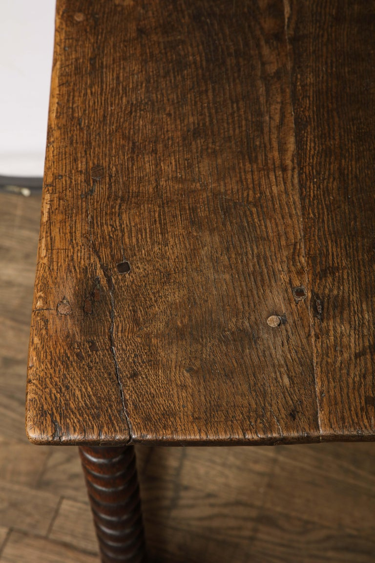 Wood 18th Century Twisted Leg Table For Sale