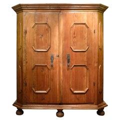 18th Century Two Doors Fir Wood Wardrobe
