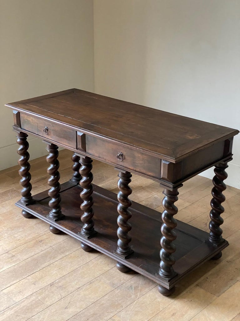 18th Century and Earlier 18th Century Two-Drawer, Turned Legs Walnut Console, Italy For Sale