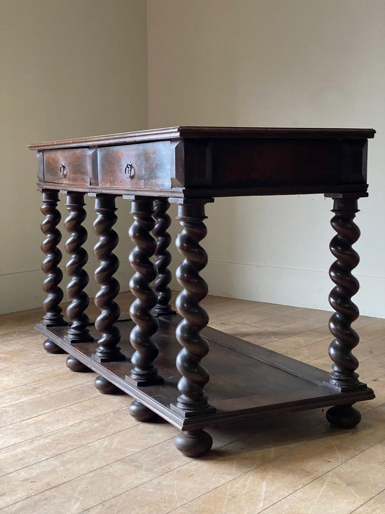 18th Century Two-Drawer, Turned Legs Walnut Console, Italy For Sale 1