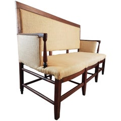 18th Century Upholstered French Fruitwood Settle