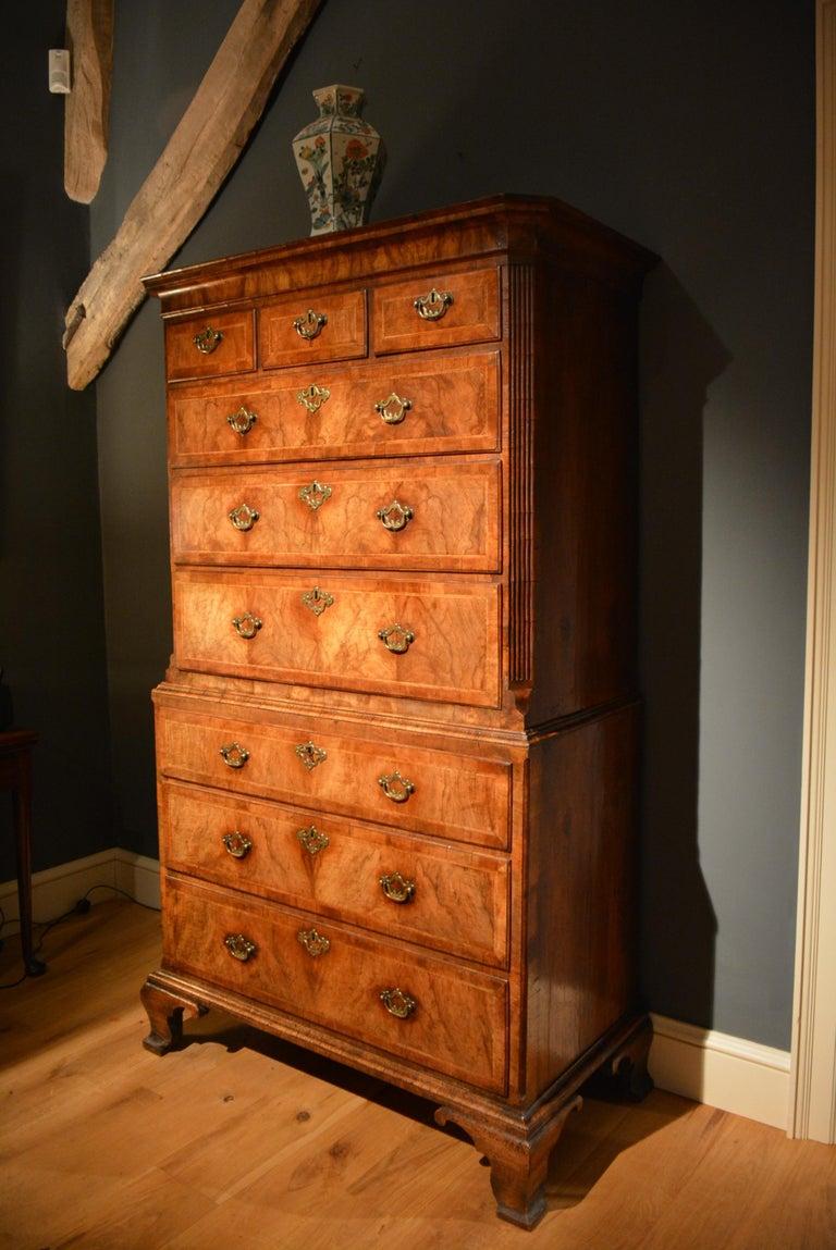 18th Century Veneered Walnut Tallboy 2
