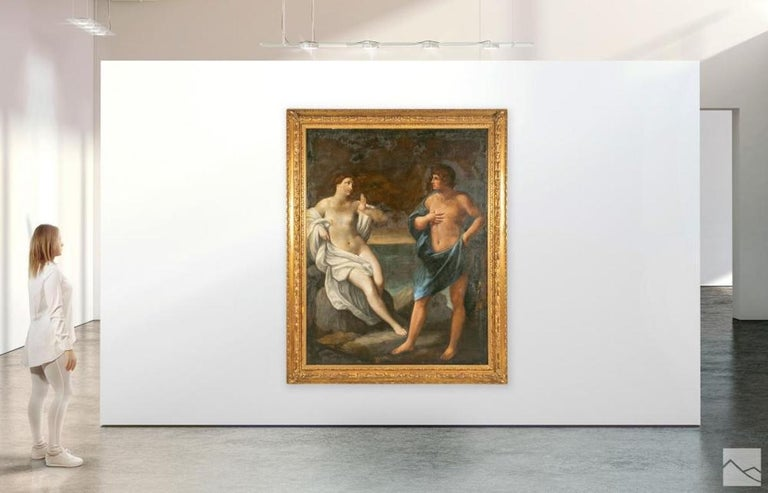 Grand Scale Venetian oil painting. Neoclassical form in early 18th century. Two mythological figures almost life sized. A figurative art work painted in the Venetian School style. An interior scene with two Classical style human figures, one a semi