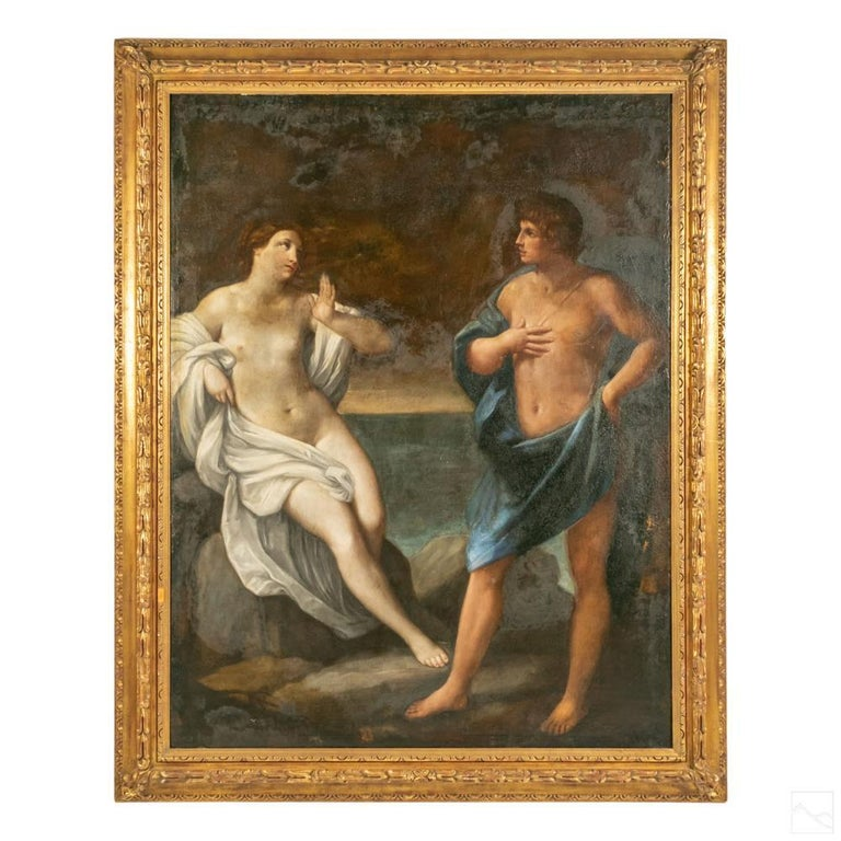 Hand-Painted 18th Century Venetian Baroque Neoclassical Oil Painting of Grand Scale For Sale