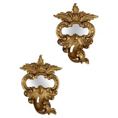 18th Century Venetian Carved Giltwood Mirror and One to Match of Later Date