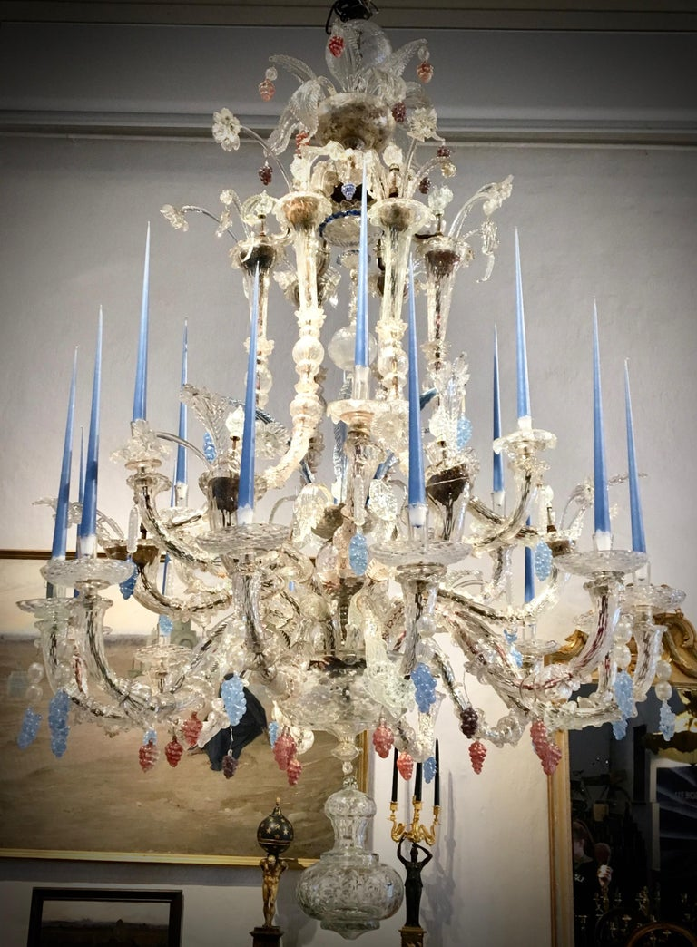 A very large and important 18th century Venetian chandelier of impressive proportions. 240cm high. It´s rare to find these large chandeliers.  Provenance: Danish castle  History: Very few objects are so recognizable the world over and have been
