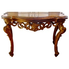 18th Century Venetian Giltwood Console Table with Marble Top
