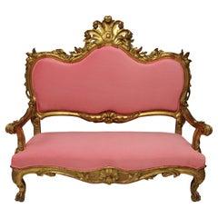 18th Century Venetian Giltwood Settee in Bubblegum Pink Velvet