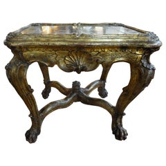 18th Century Venetian Giltwood Table with Mirrored Top
