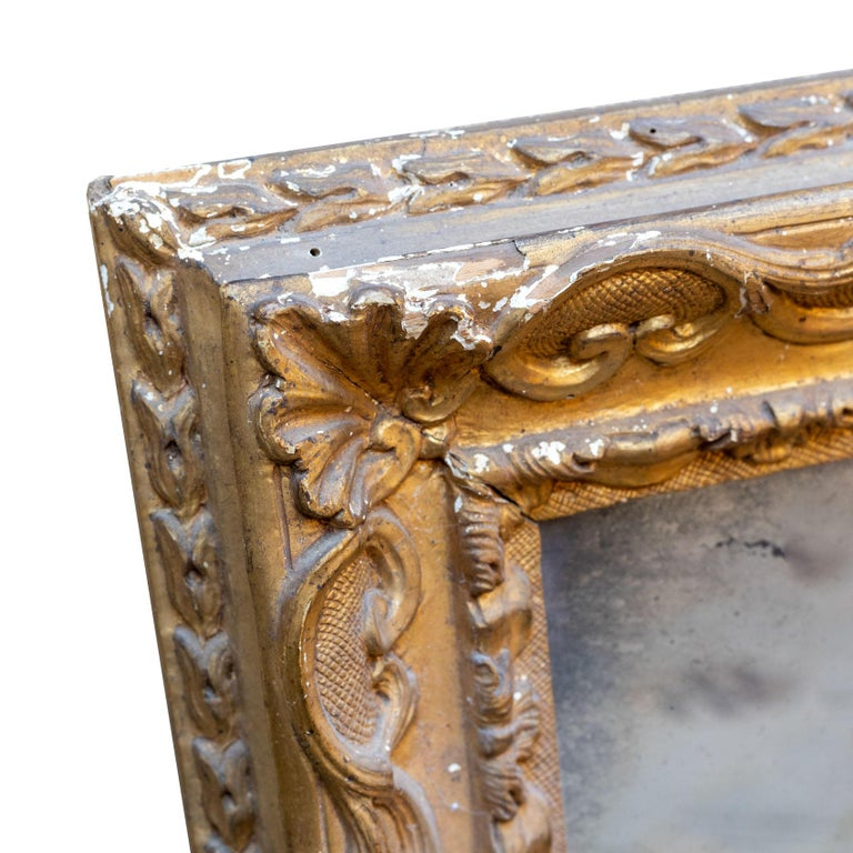 18th Century Venetian Hand Carved Gilt Wood Fram with Antique Mercury Mirror For Sale 4