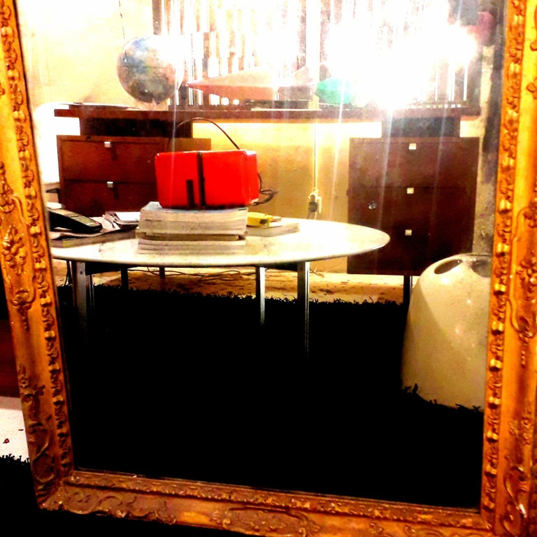 Rococo 18th Century Venetian Hand Carved Gilt Wood Fram with Antique Mercury Mirror For Sale
