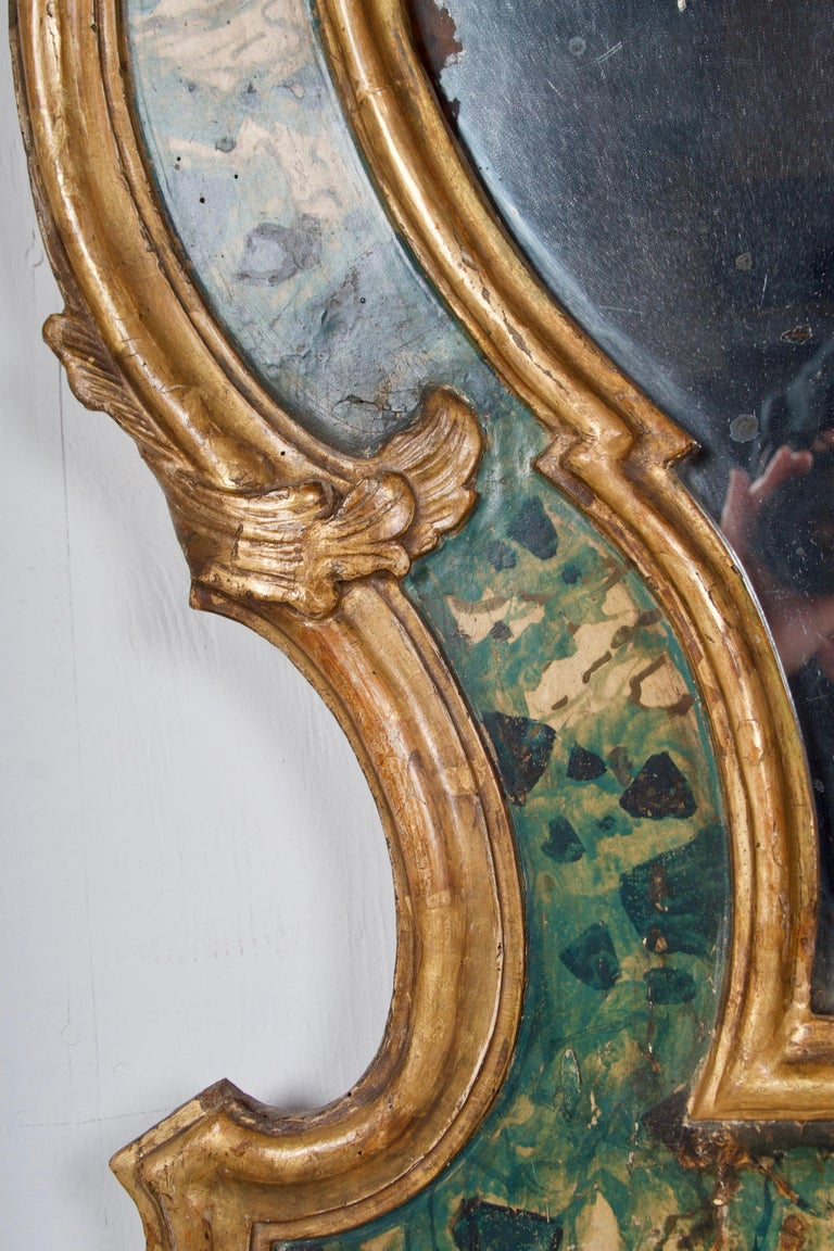 18th Century Venetian Mirror, Faux Marble, Gilded, Original Mercury Glass For Sale 4