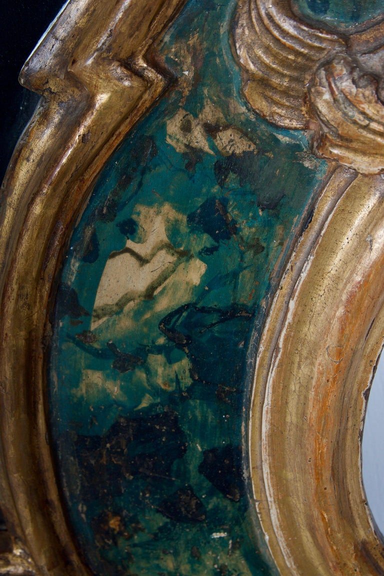 18th Century Venetian Mirror, Faux Marble, Gilded, Original Mercury Glass For Sale 5