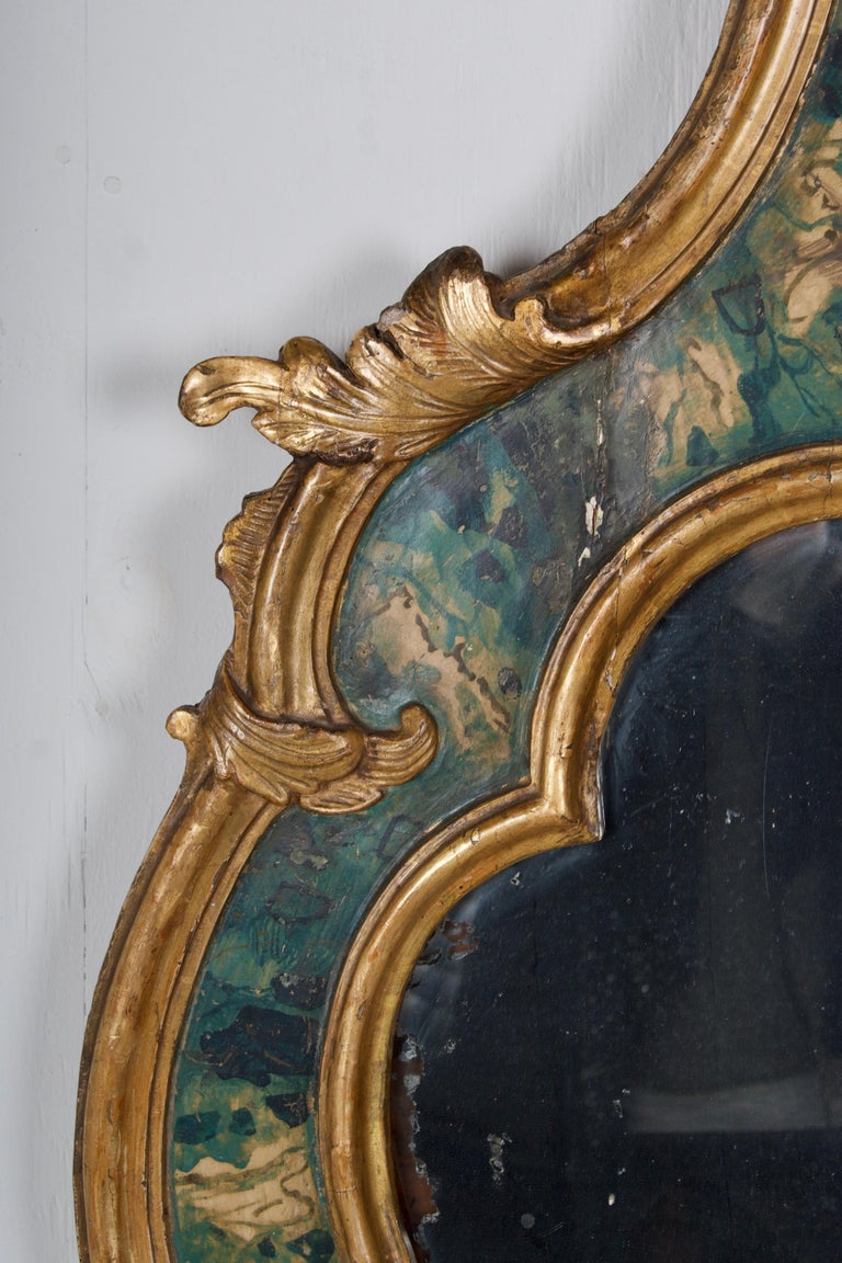 Italian 18th Century Venetian Mirror, Faux Marble, Gilded, Original Mercury Glass For Sale