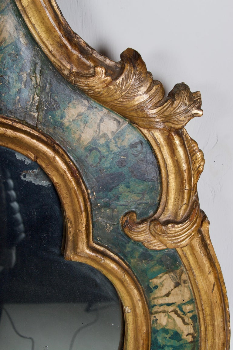 Glazed 18th Century Venetian Mirror, Faux Marble, Gilded, Original Mercury Glass For Sale