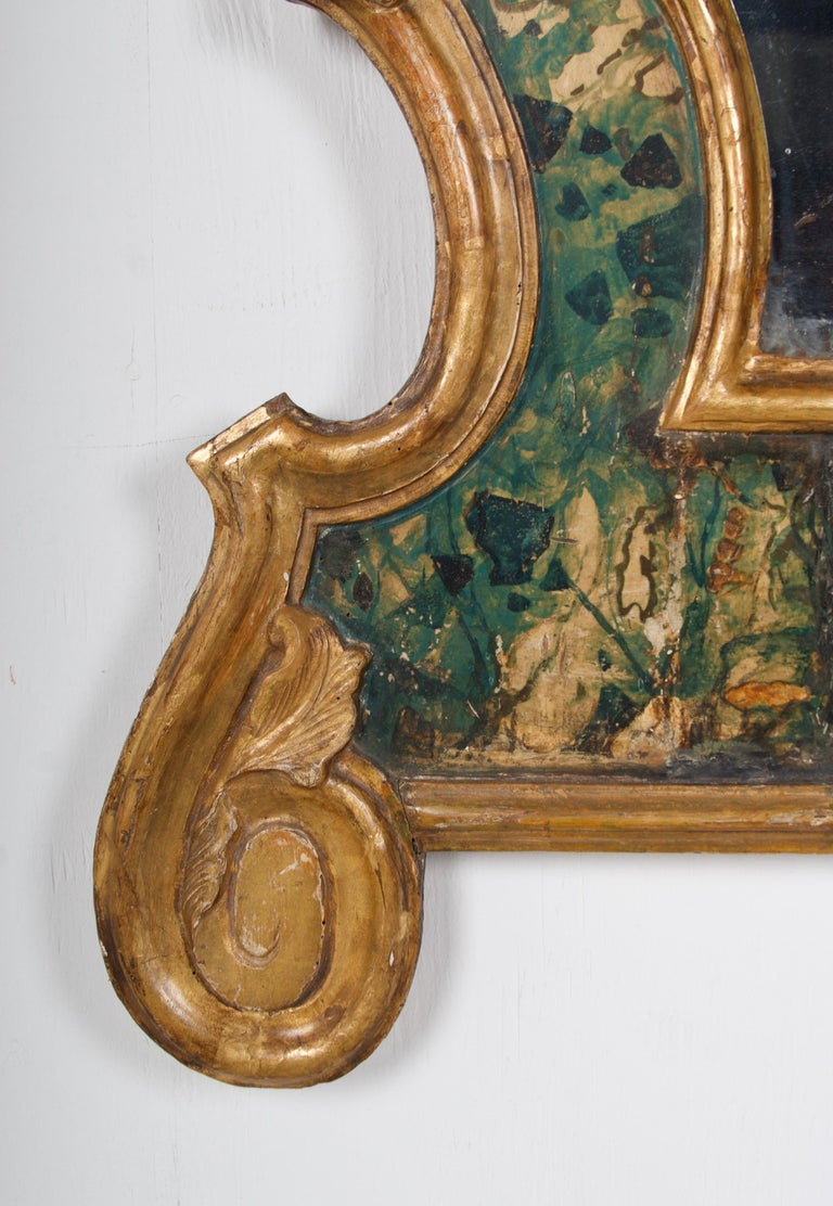18th Century Venetian Mirror, Faux Marble, Gilded, Original Mercury Glass In Good Condition For Sale In San Francisco, CA