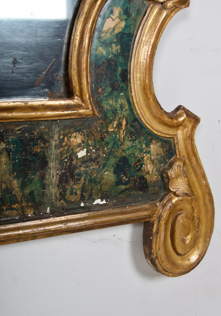 18th Century Venetian Mirror, Faux Marble, Gilded, Original Mercury Glass For Sale 1