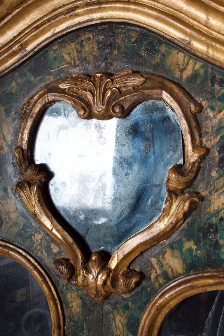 18th Century Venetian Mirror, Faux Marble, Gilded, Original Mercury Glass For Sale 3