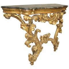 18th Century Venetian Rococo Giltwood Console Table