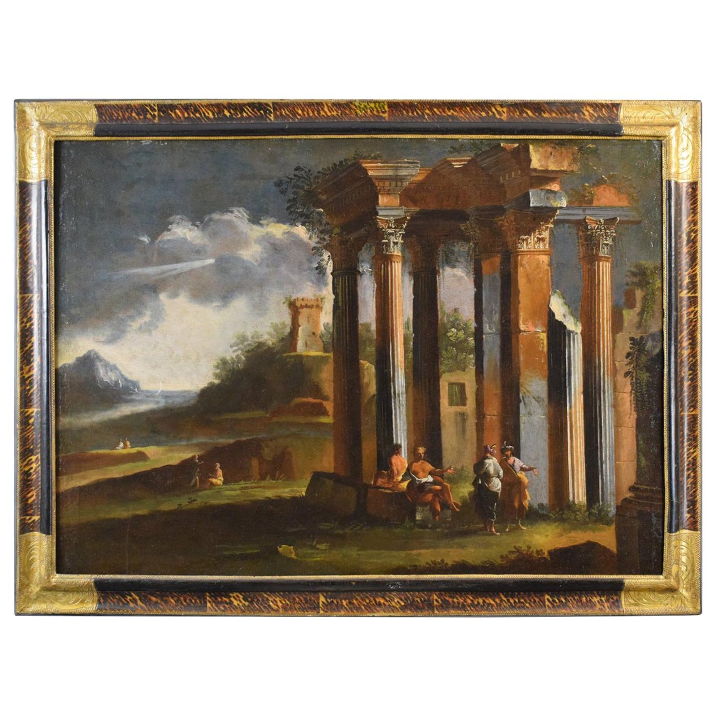 18th Century, Venetian School Painting with Architectural Capriccio